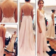 Simple Backless Chiffon Junior Cheap Long Prom Dresses, BG51171