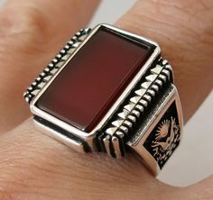 Handmade 925 Sterling Silver Authentic Natural Agate Stone Men's S RING #948