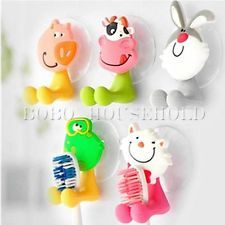 Cute Cartoon Animal Sucker Toothbrush Wall Holder Suction Cup Bathroom Gift