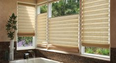 Inspire the perfect moment of relaxation with Vignette® Top/Down Bottom/Up Modern Roman Shades ♦ Hunter Douglas window treatments Bathroom Window Treatments, Modern Roman Shades, Honeycomb Shades, Windows, Window Shades, Bathroom Windows, Window Styles, Horizontal Blinds, Blinds