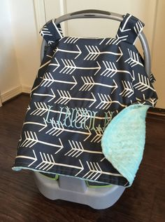 Arrow Carseat canopy with monogram personalized woodland baby car cover for boys or girls arrows minky dot & Monogrammed Carseat Canopy for boys or girls with Arrows ...