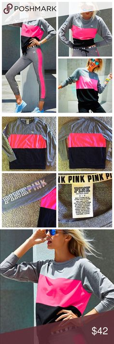 VS PINK crew sweatshirt pink gray black small VICTORIA'S SECRET PINK crew neck sweatshirt NWOT. Size small. No stains, holes or tears- in perfect unused condition. Is block colored gray, neon pink and black with writing on the right arm and silver dog on chest. Released in 2014 collection. Super comfortable and high quality. PINK Victoria's Secret Sweaters Crew & Scoop Necks