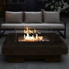 "Bronze 48"" Lp Gas Fire Pit With Round Corners"