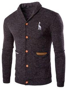 Turn Down Collar Long Sleeve Cardigan