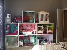 American girl doll house I made for my daughter for Christmas