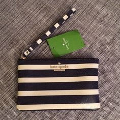 "Kate Spade Cedar Street Stripe Bee - Off Shore From web: we downscaled our popular wallet into a toteable wristlet that holds all the essentials--a phone, cash (and red lipstick, of course)--so that your hands are free to toast, snap photos or flag the waiter for another round of champagne. shiny grainy vinyl with matching trim. 14-karat light gold plated hardware. custom woven quick & curious lining. wristlet with zip top closure. 4h x 6.5""w x 0.6"" d. style # pwru4123. kate spade Bags…"