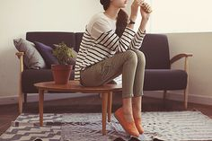 love stripes and tan pants