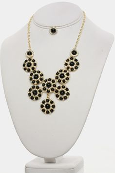 GORGEOUS ROUND BEADED NECKLACE EARRINGS SET (BLACK) - $24