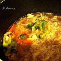 { Chicken, Vegetable & Noodle Miso Soup }