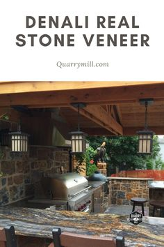 This beautiful covered patio showcases the Quarry Mill's Denali natural thin stone veneer. #naturalstone #stoneveneer #thinstone #realstone #quarry #freeshipping #outdoorkitchen #coveredpatio #outdoorgrill #grillmaster #madeinamerica #dreamhome #designideas #stonesiding #quarrymill #castlerockstone #rusticpatio #dreampatio #naturalstoneveneer #realstoneveneer #rusticdesign #designideas #designinspiration Real Stone Veneer, Natural Stone Veneer, Natural Stones, Rustic Patio, Stone Siding, Grill Master, Outdoor Living, Outdoor Decor, Made In America