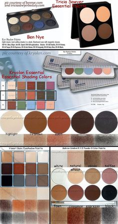 TOP 5 MATTE PALETTES (for Pro/TV work or mature skin) :: In addition to La Femme's $3-$6 matte shadows in Nude (highlight), Taupe (shading), Peach (neutralizing/blush color) & Dark Brown (contour/lining), try these palettes: Ben Nye Eyeshadow Palette ($45 for 8 shades), Tricia Sawyer's The Essentials Palette ($36 for 4), Kryolan Palette of Essential Shading Colors ($20 for 5), Viseary Basic Eyeshadow Palette ($68 for 12) & Mehron Celebre E.Y.E. Palette ($35 for 8). CLICK for links…