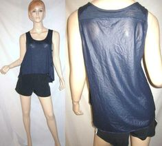 BCBG MAXAZRIA Rayon Lyocell Contrast High Low Navy Hem Blue Tank Top M...see more details at this link - http://stores.shop.ebay.com/vintagefluxed