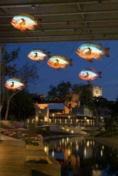 San Antonio river walk, Lighted fish under bridge Space Architecture, Architecture Details, Outdoor Art, Outdoor Lighting, Urban Landscape, Landscape Design, Parque Linear, Under Bridge, San Antonio River
