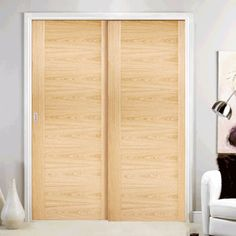 Sofia Oak Veneer Staffetta Twin Telescopic Pocket Doors - Prefinished, All Staffetta telescopic pocket cassettes may be kerbside delivery only and not in to the home. doors are delivered separately. An Soft Close. Wooden Sliding Doors, Internal Sliding Doors, Sliding Pocket Doors, Sliding Door Design, Indoor Sliding Doors, Closet Doors Painted, Folding Closet Doors, Closet Door Bifold, Bedroom Closet Doors Sliding
