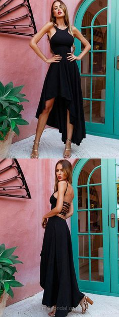 High Low Prom Dresses,Black Prom Dresses,2018 Prom Dresses For Teens,A-line Prom Dresses Scoop Neck, Silk-like Satin Prom Dresses Asymmetrical #blackdresses