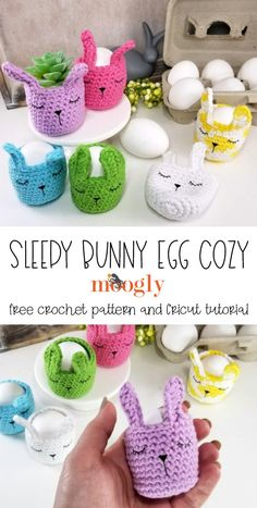 The Sleepy Bunny Egg Cozy combines two of my favorite crafts - crochet and Cricut! Make these adorable mini egg baskets as re-useable green Easter decor with the free on Moogly! Featuring Red Heart Scrubby Smoothie!  #freecrochetpattern #eastercrochet #eastercrafts #cricutmade #cricutmaker #yarnspirations #redheart #scrubbysmoothie