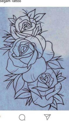 Old school rose tattoo Rose Drawing Tattoo, Tattoo Sketches, Tattoo Drawings, Art Drawings, Rose Tattoos, Flower Tattoos, Body Art Tattoos, Embroidery Patterns, Hand Embroidery