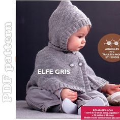 ENGLISH Baby Hooded Cape Knitting Pattern PDF | CraftyLine e-pattern shop