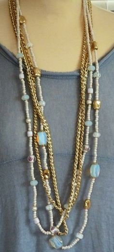 Mixed gold rope and white bead long necklace