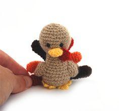 stuffed turkey doll little Thanksgiving by tinyworldbycrochAndi