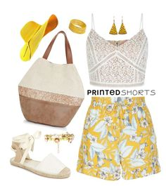 """Printed Shorts in Yellow"" by feelgood35 ❤ liked on Polyvore featuring New Look and Dorothy Perkins"