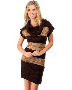 Brown/Beige Stripe Short Sleeve Sweater Dress w/ Cowl Neck $36 Use TwentyOff Promo code for 20% off.