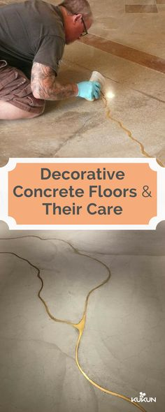 There's nothing to worry if your floors crack, you can always turn these cracks into a part of your décor through staining and cutting, this and more tips on Decorative Concrete Floors Maintenance in our guide! [Decorative Concrete Floors, Concrete Floors, Decorative Concrete Floor Maintenance, Gold Concrete Floor Cracks, Decorative Concrete Floors Maintenance, How To Maintain Concrete Floors, DIY Guide, Things To Know About Concrete Floors]