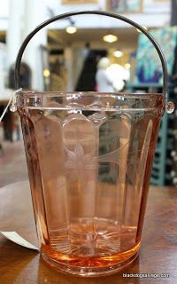 Lovely Pink Depression Glass in the Marketplace. Read our blog post to find out more about how depression glass came about.