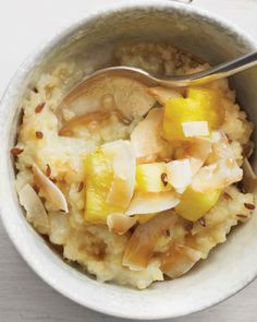 Millet grains form a soft, gluten-free breakfast porridge with a slight crunch. Coconut and pineapple give the dish a taste of the Tropics.