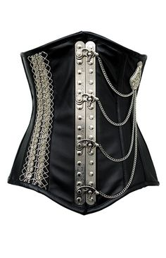 Black leather steampunk underbust corset