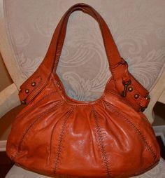 Fossil Orange RED Leather Hobo Satchel BAG   eBay