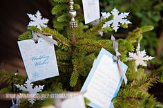 A stunning and unique way of display wedding card wishes rather than a traditional guest book.  Perfect for christmas or winter wonderland inspired weddings By www.fuschiadesigns.co.uk.