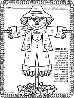Scarecrow addition and subtraction within 20, first grade