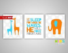 Printable DIY Nursery Art Prints Orange Blue by KidsPrintablesDIY