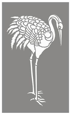 Large Asian Red Capped Crane Stencil