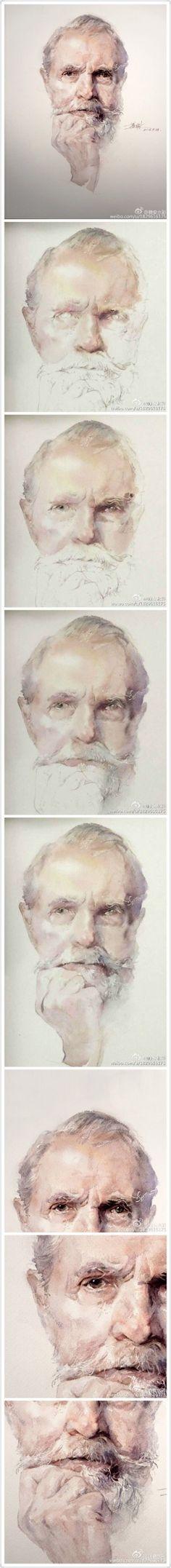 old man painting tutorial Watercolor Portrait Tutorial, Watercolor Portrait Painting, Watercolour Tutorials, Painting & Drawing, Watercolor Paintings, Watercolor Techniques, Painting Techniques, Watercolors, Water Colour Portrait