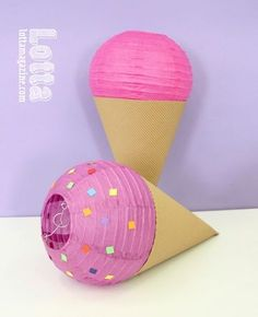 These DIY ice cream cones are crafted from paper lanterns. Make great decorations for an ice cream birthday party! Ice Cream Theme, Ice Cream Party, Anniversaire Candy Land, Fete Shopkins, Diy With Kids, Lantern Crafts, Lantern Diy, Kids Lantern, Ice Cream Decorations