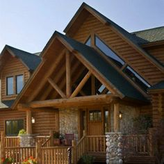Craftsman style front door on a log cabin home.