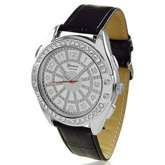 Bling Jewelry Geneva CZ Bezel Silver Dial Genuine Black Leather Watch Mens