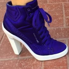 Puma by Sergio Rossi purple satin high heel size 7 Heeled Boots, Bootie Boots, Ankle Boots, Boot Heels, Purple Court Shoes, Sergio Rossi Boots, Butterfly Shoes, High Top Sneakers, High Heels
