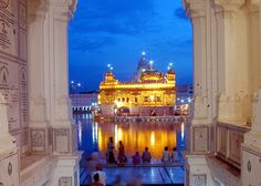 The view walking into the Golden Temple in Amritsar, Punjab.