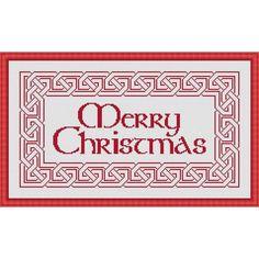 Merry Christmas Celtic Cross Stitch Design - PDF Cross Stitch Chart Celtic Cross Stitch, Cross Stitch Samplers, Cross Stitching, Celtic Christmas, Merry Christmas, Cross Stitch Christmas Cards, Holly Hobbie, Cross Stitch Designs, Colorful Pictures