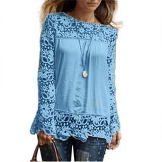 Gender: Women Sleeve Length(cm): Full Pattern Type: Solid Collar: O-Neck Model Number: Blouse Style: Casual Decoration: Lace Fabric Type: Chiffon Clothing Length: Regular Sleeve Style: Regular Material: Polyester Style: Fashion