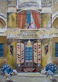 'Luvaria Ullsses, Lisbon' by Emily Sutton, 2011 (ink and watercolour). Art and illustration Children's Book Illustration, Botanical Illustration, Watercolor Illustration, Museum Of Childhood, Travel Sketchbook, Watercolour Art, Cat Drawing, Charleston, Illustrators