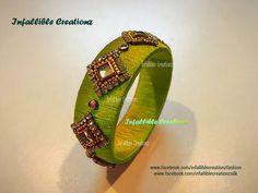 Silk Thread Bangles Design, Silk Thread Necklace, Beaded Necklace Patterns, Thread Jewellery, Kundan Bangles, Silk Bangles, Bridal Bangles, Bead Embroidery Jewelry, Fabric Jewelry