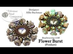 Flower Burst Pendant (Tutorial) with demi rounds and flower cup beads and rizo beads - YouTube