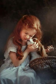 Photo: Redheaded Girl and Her Cavalier Precious Children, Beautiful Children, Beautiful Babies, Animals For Kids, Baby Animals, Cute Animals, King Charles Spaniel, Cavalier King Charles, Cute Kids Photography