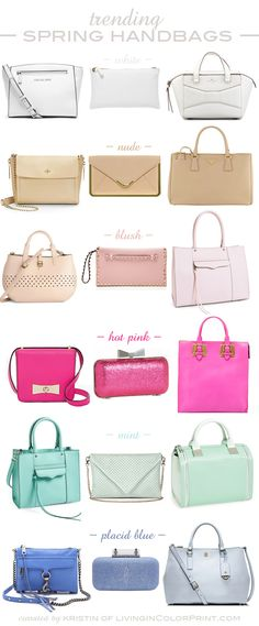 Trending Spring Handbags  -let's  see, I've bought a large beige, and a perforated mint green, so I guess i'm on target.