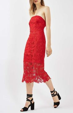 On SALE at 40.00% OFF! strapless lace midi dress by Topshop. Scrolling leafage atop intricate netting defines a saucy yet elegant midi dress just waiting to be your new holiday g...