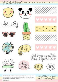 Kawaii Drawings, Doodle Drawings, Easy Drawings, Emoji Stickers, Face Stickers, Bullet Journal Art, Bullet Journal Ideas Pages, Doodle Tattoo, Doodles